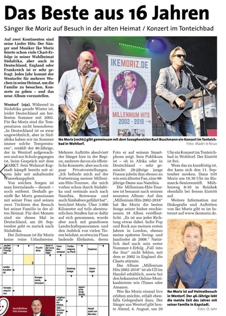 Markt newspaper weekly Ike Moriz best of CD Millennium Hits 2018 concert series at lake Tonteich with Kurt Buschmann