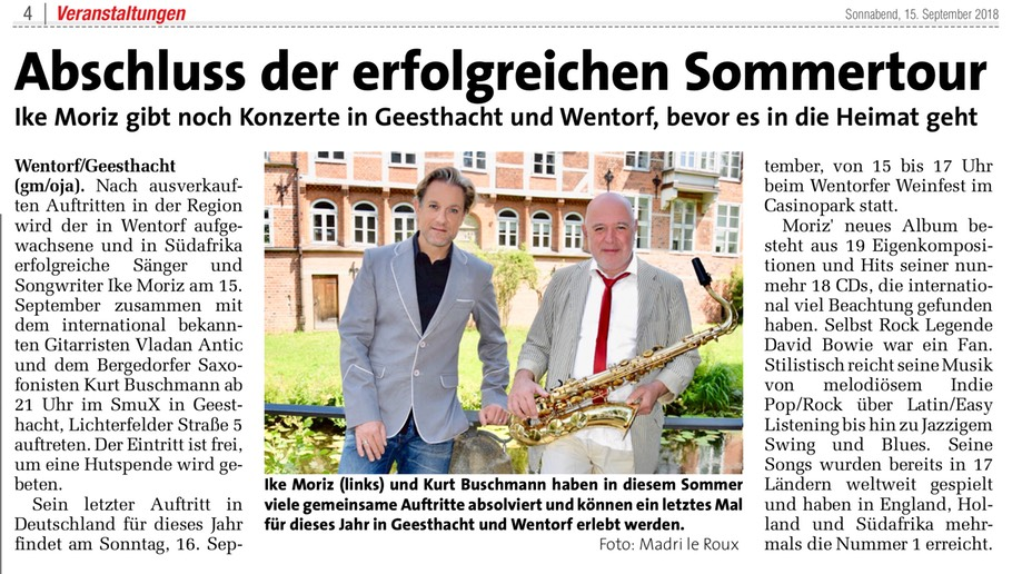 Markt Wochenzeitung Ike Moriz Kurt Buschmann Geesthacht Wentorf Madri le Roux Südafrika Vladan Antic Summ Werkstatt Cafe Weinfest David Bowie Swing Blues England Holland Nummer Eins Millennium Hits Tour 2018