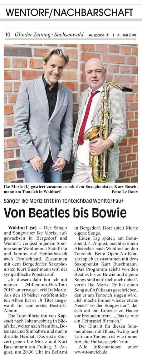 Sachsenwald Glinder Zeitung July 2018 Ike Moriz Millennium Hits Tour Stefanie Rutke Bergedorf Kurt Buschmann Ike Moriz Duo Wentorf Schleswig-Holstein jazz swing blues pop Zeitung news BeLaMi Tonteich Tonteichbad TonteichKonzert Sachsenwaldbad Wohltorf Namibia Zimbabwe Botswana Beatles Bowie SouthAfrica Südafrika